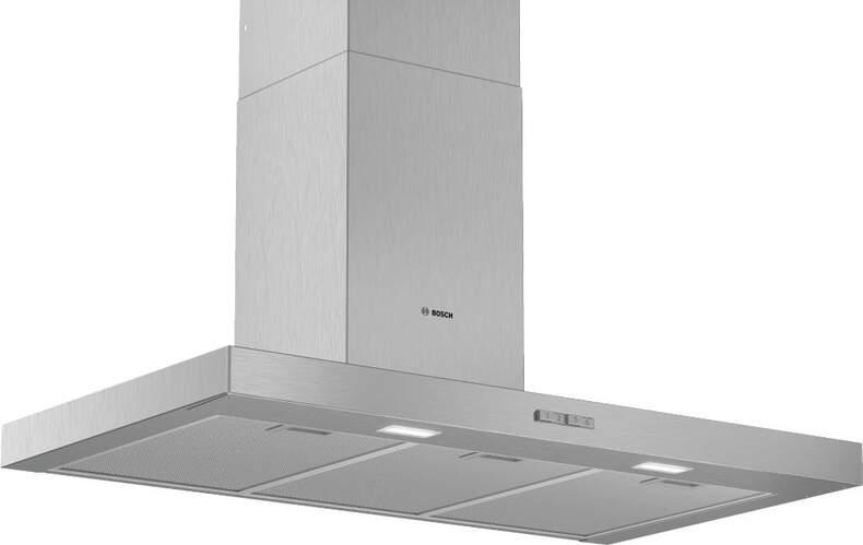 Campana decorativa Bosch DWB96BC50 - 90cm, 619m3/h, 62 dB, LED, 3 Potencias, Acero Inox