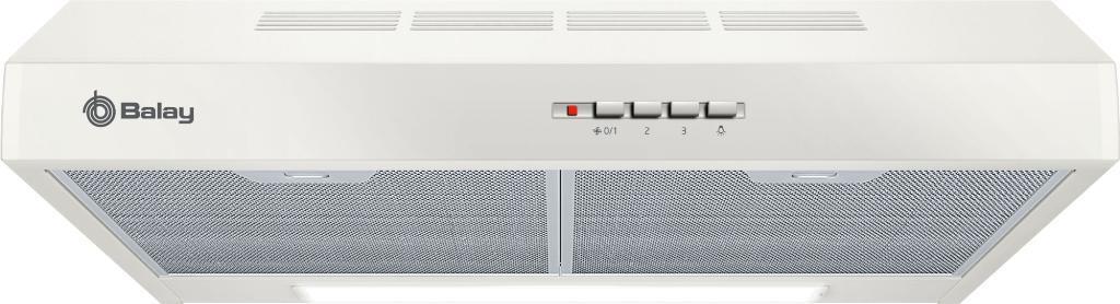 Campana extractora Balay 3BH263MB -  60cm, 350m3/h, 72dB, Iluminación LED, Filtros lavables, Blanca.